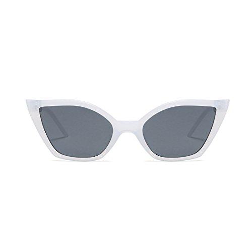 Moda sol retro Moda gafas gato Aiweijia pequeñas gafas Blanco ojo marco de resina de Gris Vintage de dcq5IS5W