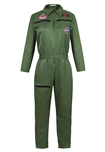 frawirshau Adult Flight Suit Pilot Costume Women Jumpsuit Long-Sleeve Zipper Coveralls ArmyGreen ()