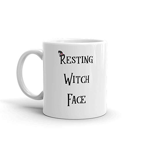 Resting Witch Face Halloween Funny Novelty Humor 11oz White Ceramic Glass Coffee Tea Mug Cup ()