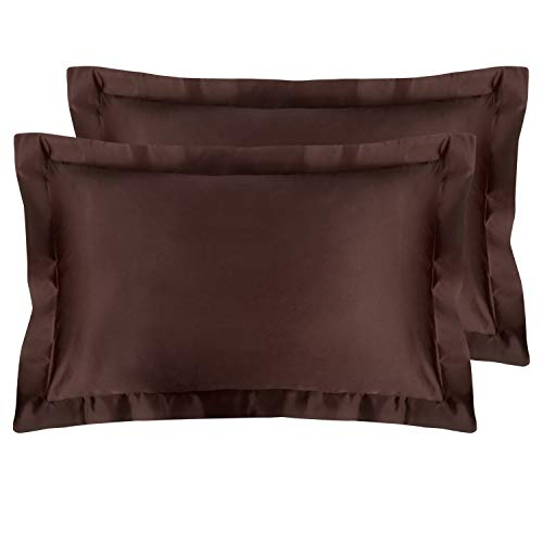 NTBAY Satin Shams Set of 2, Pillowcases, for Hair, Silky Soft and Luxury (Chocolate, Queen) ()