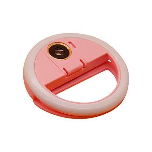 Clip on Selfie Ring Light USB Rechargeable External HD Lens 3 Light Effects with 36 LED Lamp Beads for Smart Phone Camera Round Shape (Pink)