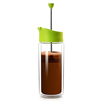 BunMo Double Wall Glass Personal French Press for BulletProof Coffee, Platinum Tea, Keto Hot Chocolate, Caveman Collagen Latte and Cappuccino - Travel Mixer and Frother of Bullet Proof Coffee