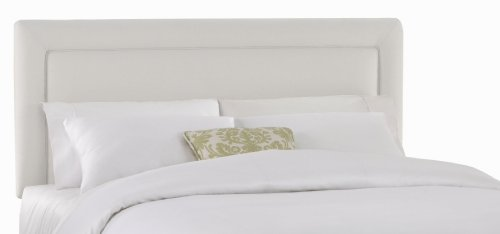 Border Queen Headboard - Skyline Furniture Addison Queen Twill-Upholstered Border Headboard, White
