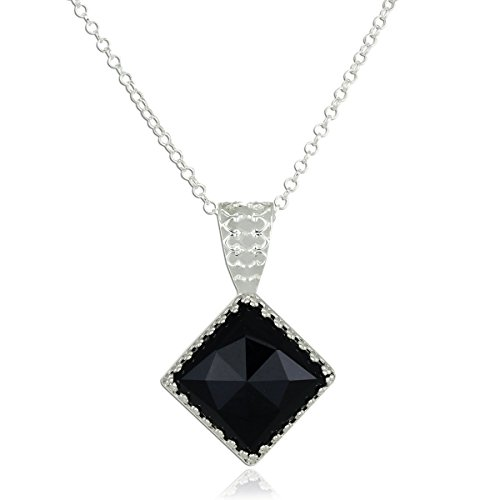925 Sterling Silver Black Onyx Necklace Decorative Diamond Shaped Pendant, 18