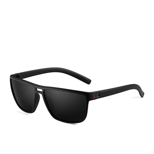 Moda C3 para Sunglasses C2 de Hombre Hombres Matte Gafas polarizadas Marrón Smoke de TL Gafas Sol Marrón de Gafas Plástico Cuadrado Sol Black de Guía d7xqnUAX