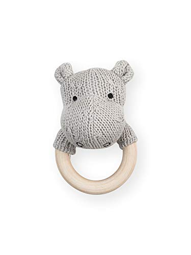 Jollein - Rammelaar bijtring Ø 7cm Soft knit hippo light grey