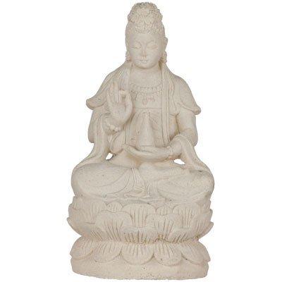 Volcanic Stone Statue Quan Yin (Kwan Yin) White - Yin Guan Statue