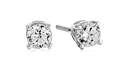 Stud White Certified Gold Diamond (Certified 14k White Gold Diamond with Screw Back and Post Stud Earrings (1/2cttw, J-K Color, I1-I2 Clarity))