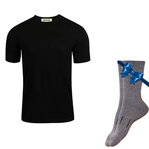 Merino.tech 100% NZ Organic Merino Wool Lightweight Men's T-Shirt + Merino Wool Hiking Socks Bundle | Short Sleeve Crew Tee | Moisture Wicking | No Odor | UPF 25 (Medium, Black)