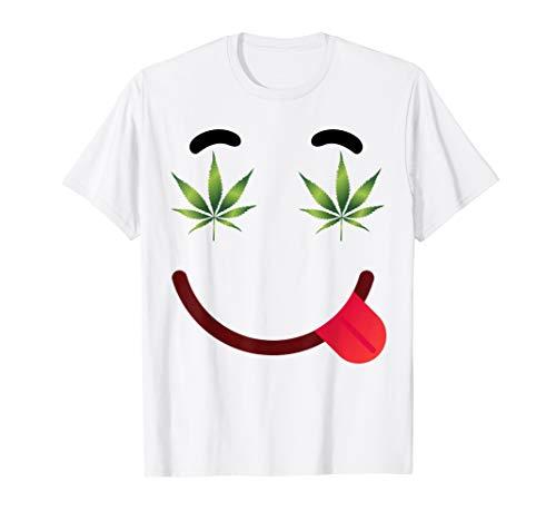 Halloween Emojis Stoner Costume Shirt Smile Face Weed Eyes -