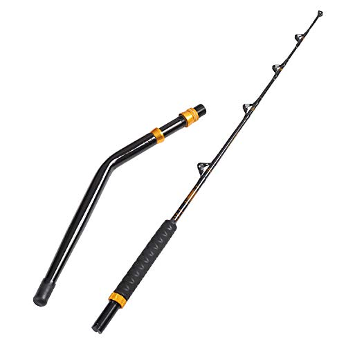 Fiblink Bent Butt Fishing Rod 2-Piece Saltwater Offshore Trolling Rod Big Game Roller Rod Conventional Boat Fishing Pole (Length: 6')