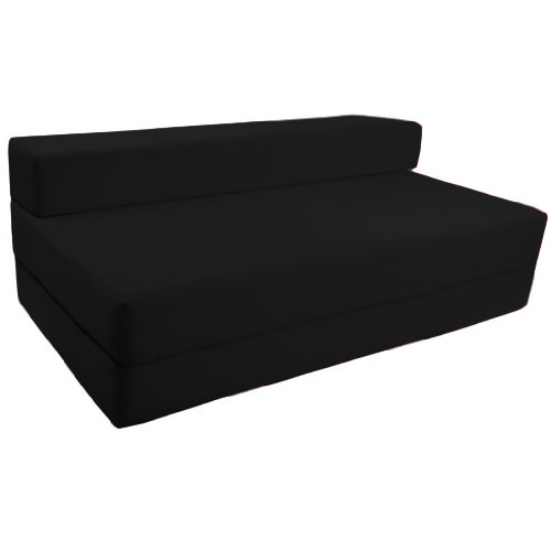 Ready Steady Bed Comfortable Fold-Out Z Bed Chair Futon, Double, Black