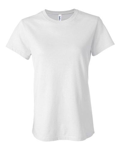 Womens Fitted Baby Rib Tee (Bella Ladies Super soft 1x1 baby rib knit fabric T Shirt - White - Small)
