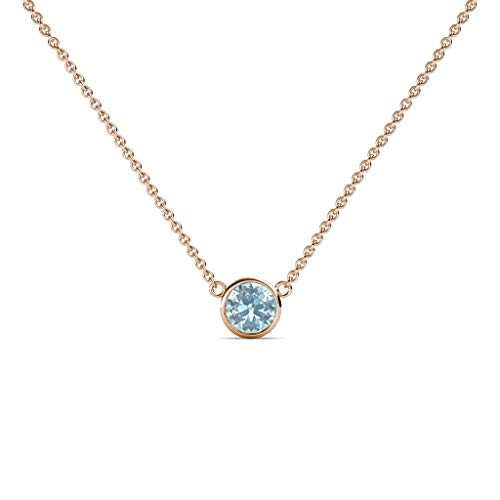 TriJewels Round Aquamarine 0.33 ct Bezel Set 4.4mm Womens Solitaire Pendant Necklace 14K Rose Gold with 16 Inches Gold Chain ()