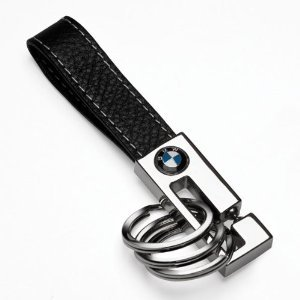 BMW 3 Ring Leather Key Chain (Key Leather Auto Ring)