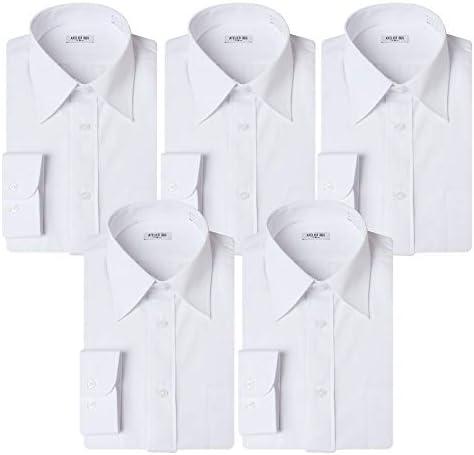 (アトリエ 365) 長袖 ワイシャツ 5枚セット 白 ホワイト イージーケア 形態安定 Yシャツ/at01-5s-ats