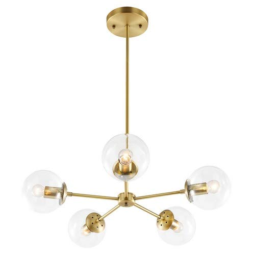Light Society Grammercy 5-Light Chandelier Pendant, Brushed Brass with Clear Glass Globes, Classic Mid Century Modern Lighting Fixture (LS-C228-BRS-CLR)