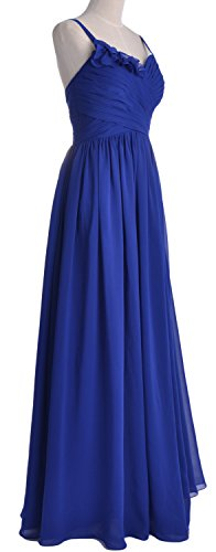 MACloth Women Straps Chiffon Long Bridesmaid Dress Wedding Party Formal Gown Marfil