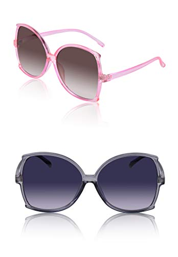 (Trendy Fashion Designer Sunglasses For Women Plastic 2 Pack Gold Clear Grey Pink )