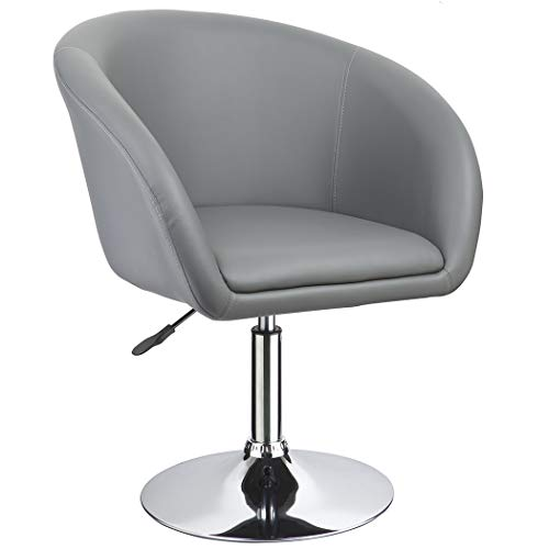 Duhome Jumbo Size Luxury PU Leather Contemporary Round Swivel Accent Chair Tufted Adjustable Lounge Pub Bar 440 (Grey)