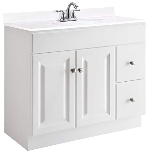 (Design House 545087 Wyndham White Semi-Gloss Vanity Cabinet with 2-Doors and 2-Drawers, 36-Inches Wide by 31.5-Inches Tall by 18-Inches Deep)