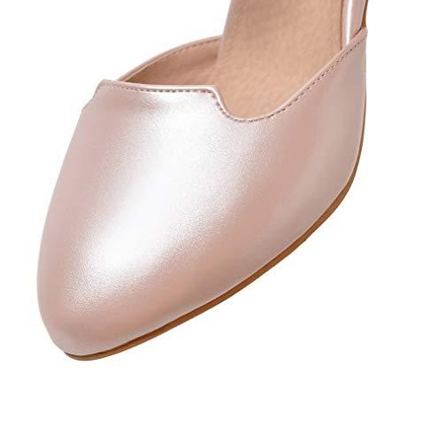 Tacco Donna Flats Medio Rosa Ballet Puro AllhqFashion FBUIDD006369 Fibbia Luccichio fAH7q55w