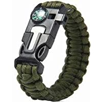 BYTE-SHOP Pedernal Pulsera Tactica Supervivencia Paracord Verde Militar Genial