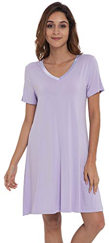 NEIWAI Women's Nightgowns Bamboo Sleep Shirt Short Lounge Dress Taro Purple L