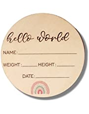 Baby Announcement Sign - Premium Wooden Rainbow Design Discs - Celebrate The Arrival of Your Baby - Record Birth Details on This Round Wooden Announcement Disc - Built to Last and Treasure Forever