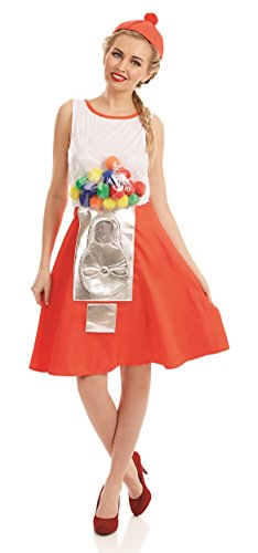 Ladies 1980s 80s Retro Gumball Machine Novelty Funny Hen Do Fancy Dress Costume Outfit (UK 16-18) -