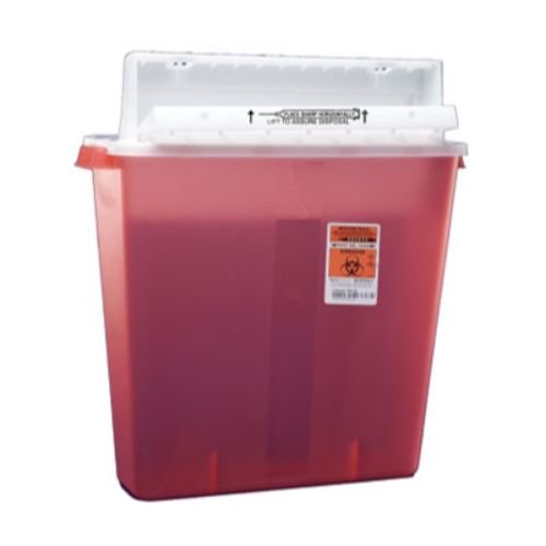 Covidien 8541SA SharpSafety Safety In Room Sharps Container, Counterbalance Lid, 4 gal Capacity, Transparent Red (Pack of 10)