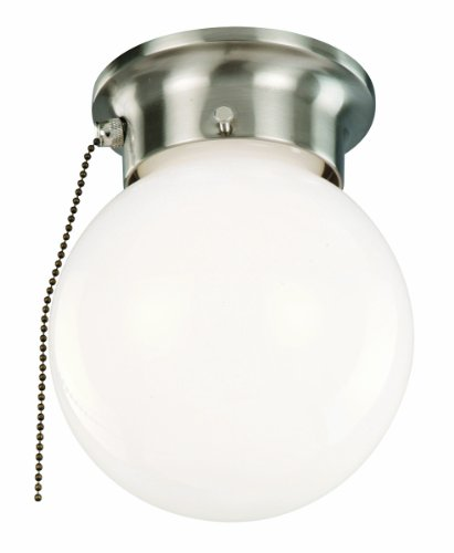 Design House 519272 1 Light Ceiling Light with Pull Chain, Satin (Ceiling Lights Pull Chain)
