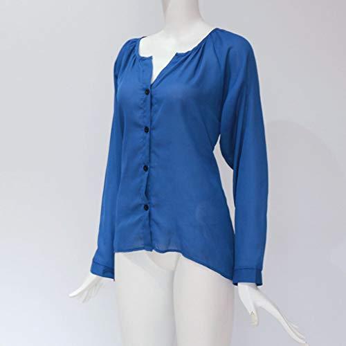 Longues Automne Manches Chemisier col bleu en Vrac Femme Haut Soie Bouton V Solides Mousseline de Printemps Masterein en aq4IUwxtg