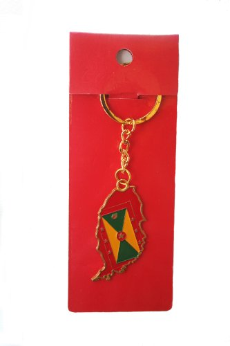 Grenada Country Shape Flag Metal Keychain .. New
