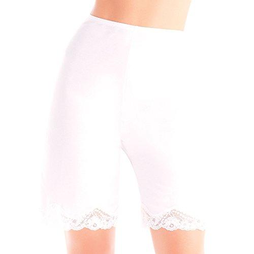 Ilusion 2637 - Lace Trim Bloomer Slip - White, Size Medium ()