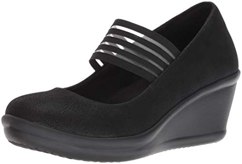 - Skechers Women's Rumblers-Space Odyssey-Striped Mary Jane Strap Wedge Pump, Black, 6 M US