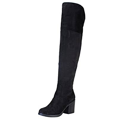 BAMBOO Women's Chunky Heel Knee High Boot