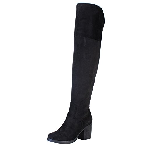 BAMBOO Women's Chunky Heel Knee High Boot, Black Faux Suede, 9.0 D (M) US Chunky Knee High Heels