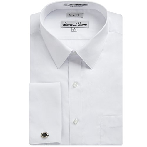 Gentlemens Collection Men's 1921 Slim Fit French Cuff Dress Shirt ,White,16.5