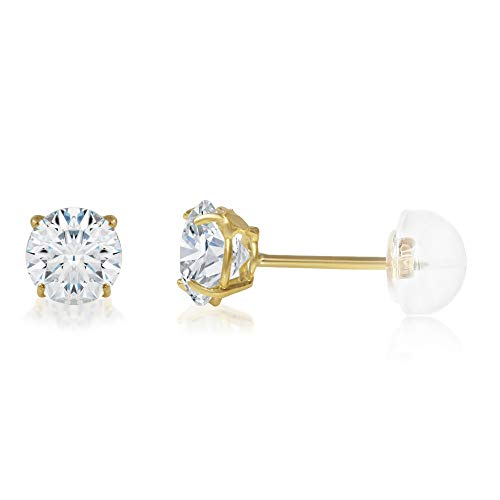 14K Yellow Gold Round Solitaire Cubic Zirconia CZ Stud Push Back Earrings - 0.5ct (5mm)