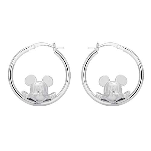 Disney Earrings Dangle (Disney Mickey Mouse Jewelry for Women and Girls, Sterling Silver Mickey Hoop Earrings Mickey's 90th Birthday Anniversary)
