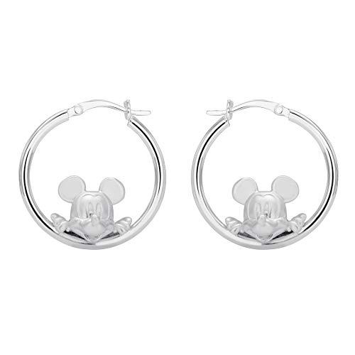 Disney Mickey Mouse Jewelry for Women, Sterling Silver Mickey Hoop Earrings