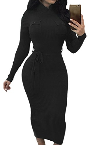 Manga Larga Mujer Cuello Invierno La De Con Vestido Alto Crucería Bodycon Black qwEfnx6tx