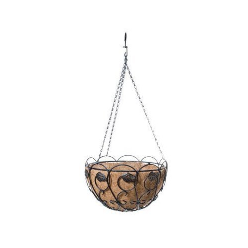 Panacea Products Scroll and Ivy 14-Inch Hanging Basket, Black with Brushed Bronze Leaves