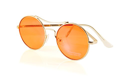 FBL Modern John Lennon Hippie Round Color Tinted Flat Lens Aviator A082 (Gold/ - Tinted Orange Aviators