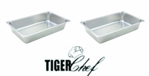 TigerChef TC-20202 Standard Stainless Steel Steam Table Pan, 4'' Deep, 24 Gauge, Full-Size (Pack of 2) by Tiger Chef