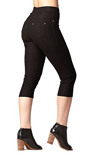 Conceited Premium Soft Jeggings Denim Leggings In 7 Colors - Regular and Plus Sizes by NYFC (Small/Medium, Capri Black) (Color Plus Womens)