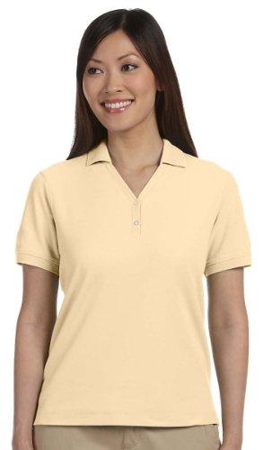 (Devon & Jones D100W Women's Pima Pique Short-Sleeve Y-Collar Polo Shirt Butter 3XL)