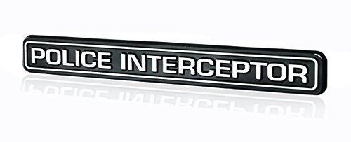 - Police Interceptor Emblem Badge in Black & Chrome - 6.75