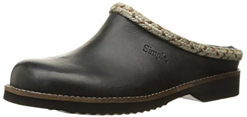 Simple Women's Hallie Mule, Black Leather, 6 M US